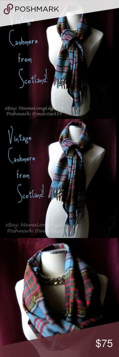 """Vintage Scotland Cashmere Fringe Scarf Shawl Gorgeous vintage Johnston's of Elgin fringed scarf made of 100% cashmere, in Scotland, for The Scotch House of London, Edinburgh and Paris. Lovely colors of blue, red, yellow/green, black and white in a tartan plaid pattern. It's about 60"""" long and 12"""" wide, and very soft and elegant. So many great ways to wear it, especially in the autumn and winter months!  From a smoke-free home. I love to work deals, so if you're interested in other items of…"""