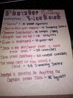 My Pirates of the Caribbean workout:)
