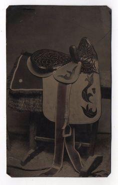 Very Unusual Sidesaddle Side Saddle Western Still Life Hand Tinted Tintype Photo
