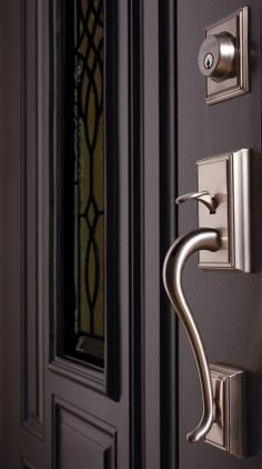 A beautiful Addison Grip from Schlage - Exterior with Deadbolt - Satin Nickel - Can be Keyed Alike or Differently - Available at Modern Builders Supply http://buymbs.com/p-2568-schlage-grips.aspx