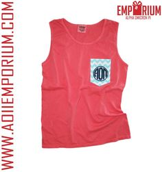 Color your winter with AOII Emporium's chevron embroidered pocket tank!
