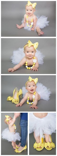 6-month session in white tutu and yellow high heels and accessories, collage.