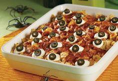 Baked Eyeballs Casserole - Good for Halloween dinner or just for fun.