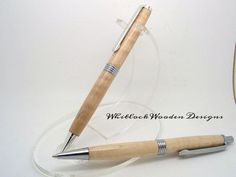 Handmade wooden pen & pencil set curly maple. This would make a fantastic gift for Father's day see the link above for website. #Whitlockwoodendesigns #handmade #crafts #pen #gifts #giftidea #fathersday #pens #woodturning #penturning #woodenpens by whitlockwoodendesigns