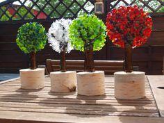 Elfepigen: Her vokser træerne ind i himlen. Fused Glass Plates, Fused Glass Ornaments, Fused Glass Art, Stained Glass, Glass Fusing Projects, Slumped Glass, Glass Flowers, Hobbies And Crafts, Planter Pots