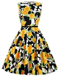 Cute Boatneck Sleeveless Vintage Tea Dress With Belt Yellow