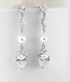 Bridal Earrings Wedding Earrings Swarovski Pearl Earrings Pearl Drop Cubic…