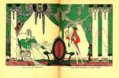 And a happy ending was just behind the brilliantly green curtains.   15 Breathtaking Illustrations Of Fairy Tales From The 1920s