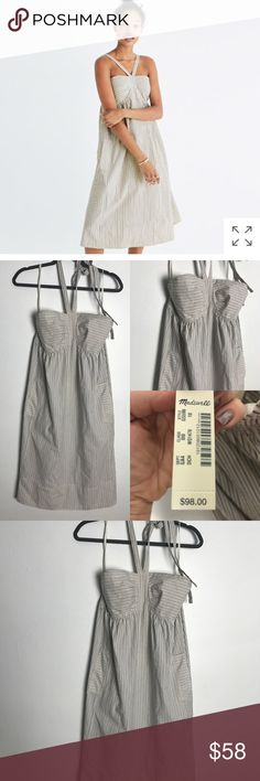 "Madewell convertible chambray striped dress 10 NWT There's a small subtle area with makeup on strap from trying on. It will come off in wash I'm sure no problem and it's not noticeable  A beachy striped dress with extra-long ties that can be worn all kinds of ways: as a halter, with straps straight or with them crisscrossed in back (yay, options!).    Nonwaisted. Falls 35 3/4"" from high point of shoulder. Cotton. Partially lined. Machine wash. Import. Madewell Dresses"