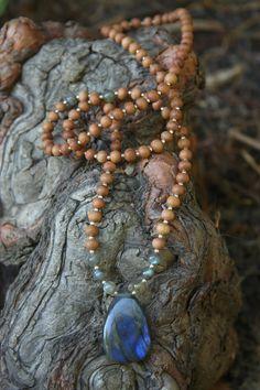 EXCLUSIVE Labradorite Sandalwood Mala - Meditation Inspired Yoga Beads BOHO chic / mala beads