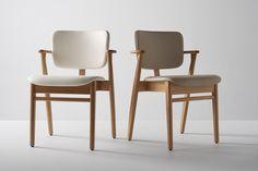 Artek Presents the Multi-purpose Domus Chair by Ilmari Tapiovaara Selling Furniture, Home Furniture, Furniture Design, Stackable Chairs, Wishbone Chair, Marimekko, Upholstered Chairs, Contemporary Interior, Walnut Wood