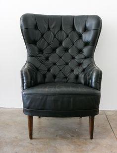 Tufted Leather High Back Chair , Denmark 1950