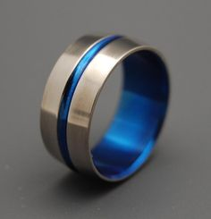 Blue Signature Ring Titanium Wedding Bands by MinterandRichterDes, $120.00