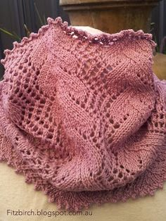 Beautiful vintage lace design from 1884 made into a cowl. Free pattern (and a laugh for lovers of Pride and Prejudice)