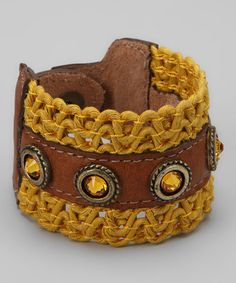 Take a look at this Brown & Yellow Braided Leather Bracelet by LEATHEROCK on #zulily today!