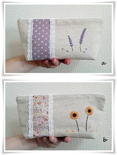 Large clutch pouch bag with hand embroidery and lace - flower. $42 via Etsy.