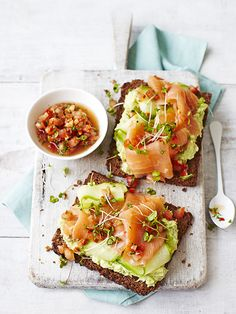 {Avocado and smoked salmon toast.}