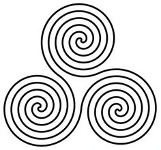 Spiral of Life and Trinity Spiral as mystical symbol of trinity. 'Spiral of Life' represents: Unity of body, mind and spirit. Interplay of birth, growth, and death. It is a symbolic representation of primordial forces that materialize in magical, mysterious fashion while obeying precise universal laws.