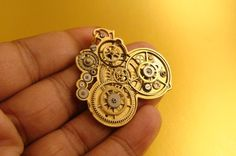Abstract golden Steampunk pendant HUGO by AbsyntheDesign on Etsy, $50.00