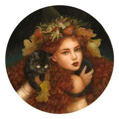"""Delightfully Manic — megarah-moon: """"Autumn Moon"""" by Annie Stegg Fairy Drawings, Fairytale Art, Fantasy Girl, Fantasy Women, You Draw, Magical Creatures, Beautiful Artwork, Cat Art, Art Pictures"""