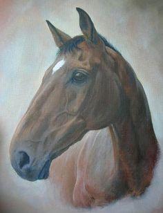 "Bay thoroughbred gelding by Tania Robinson, 2006. Acrylic on canvas 14"" x 20""."