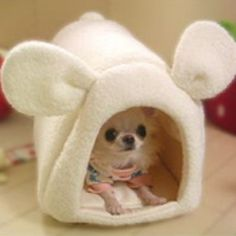 Mini Dome bed for small dogs by Skip Dog, can also purchase a mini heating pad that fits in the bed! - from Japan