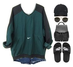 """just do it"" by mikaylaperrine ❤ liked on Polyvore featuring NIKE, rag & bone and Ray-Ban"