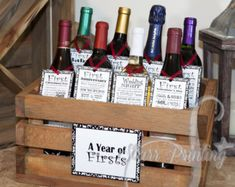 Bridal Shower Wine Crate Gift Set with 8 tags and shower card