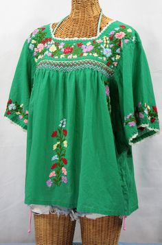 """Perfect for the Holidays!  Siren's """"La Marina"""" Embroidered Mexican Peasant Blouse in Green, $52.95."""