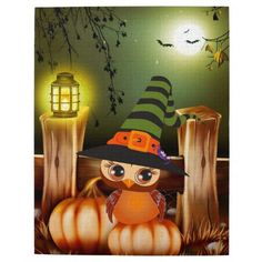 Shop Cute Halloween Owl Jigsaw Puzzle created by Gatterwe. Halloween Owl, A Pumpkin, Tigger, Jigsaw Puzzles, Witch, Disney Characters, Painting, Art, Painting Art