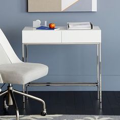 Lacquer Storage Mini Desk, Polished Nickel/White At West Elm - Work Desks - Office Tables - Office Furniture Modern Home Office Desk, Home Desk, Home Office Furniture, New Furniture, West Elm, Architecture Design, Mini Desk, Small Apartment Living, Brown House
