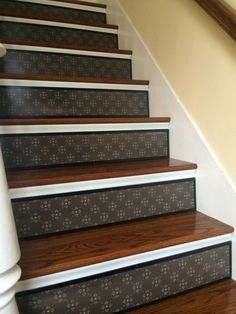 Alternative to Stair Riser Decals Stair Stencils and Stair Stickers / Painted Wood Stair Riser / Moroccan Decor / Wood Decor / Item 074 Stenciled Stairs, Painted Stair Risers, Painted Staircases, New Staircase, Staircase Remodel, Staircase Design, Staircase Ideas, Railing Ideas, Staircase Painting