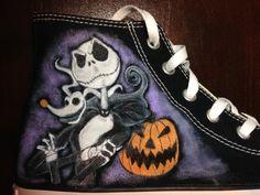 The Nightmare Before Christmas, Jack Skellington, Custom Hand Painted Shoes by FancyFeetArt via Etsy