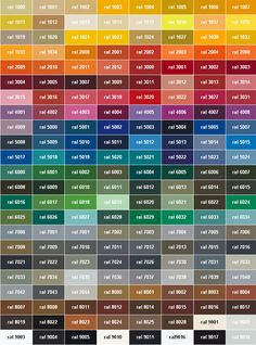 The RAL colour chart; Our new range InLine is available in any RAL colour! Now on display in our Crouch End showroom. Ral Colour Chart, Paint Color Chart, Paint Charts, Room Paint Colors, Paint Colors For Living Room, Color Paints, Colores Ral, Decoration Palette, Color Schemes
