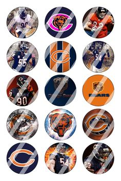 """Chicago Bears Bottle Cap 1"""" Circle Images Sheet #4 (instant download or pre cut)"""