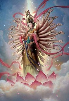Hail Kanzeon, the Divine Mother and Goddess of Compassion. The Universe is our mother. She provides and protects, guides and heals, destroys all obstacles. Trust the Divine Mother, the feminine personification of Buddha and our True Self. Durga Images, Spiritus, Buddha Art, Krishna Art, Guanyin, Paperclay, Hindu Art, Visionary Art, Gods And Goddesses