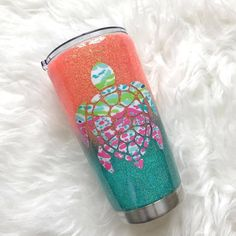 The Ombre Glitter Stainless Steel Tumbler/Cups - YETI/RTIC - LuEls