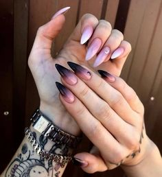 Edgy Nails, Grunge Nails, Swag Nails, Stiletto Nails, Halloween Acrylic Nails, Best Acrylic Nails, Halloween Nail Designs, Acrylic Nail Designs, Nail Art Designs