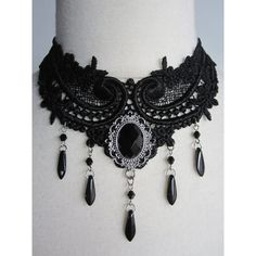 Gothic Dark Victorian Black Lace Necklace, Marquise de Bergerac ❤ liked on Polyvore featuring jewelry, necklaces, gothic chokers, choker necklace, chain necklace, goth choker and victorian choker necklace