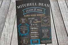 Chalkboard Graduation Milestones Invitation or Announcement - Class of 2014, High School, College, Party, Year in Review, Scrapbook, Chevron