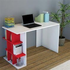 Minar Desk, White/Red