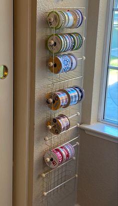 Craft Room Design, Craft Room Decor, Cricut Craft Room, Craft Room Storage, Craft Rooms, Ribbon Organization, Ribbon Storage, Sewing Room Organization, Diy Ribbon