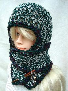 Hat with attached scarf, CROCHET PATTERN, age 5 to adult sizes, SPP-71, preteen, teen, adult. $4.99, via Etsy.
