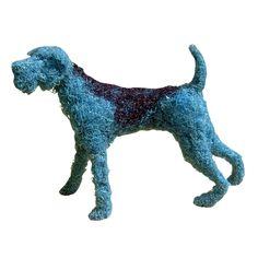 Evian Dog Sculpture by Dominic Gubb - made of shredded mineral water bottles. Mop Dog, Dog Sculpture, Pet Bottle, Medium Art, Minerals, Dinosaur Stuffed Animal, Moose Art, Water Bottles, Pets