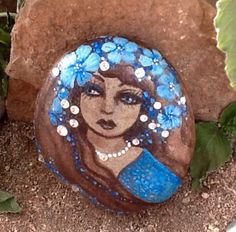 Girl- brown hair, blue eyes, 16 crystal rhinestones. One of a kind portrait rock. 3 1/4 x 2 3/4 x 1 1/4