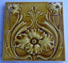 Very good and early relief moulded Art Nouveau design c1902 from Henry Richards, tile reference 236 in the book Art Nouveau Tiles with Style.