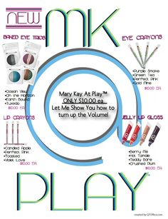Mary Kay at Play! As a Mary Kay beauty consultant I can help you, please let me know what you would like or need. www.marykay.com/KathleenJohnson  www.facebook.com/KathysDaySpa