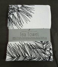 Pinecone Tea Towel by Corvidaedrawings on Etsy Textiles, Botanical Illustration, Pine Cones, Tea Towels, House Warming, Ink, The Originals, Drawings, Foodies