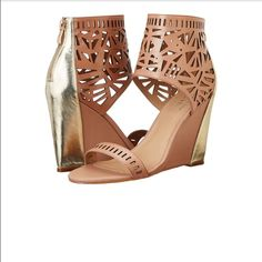 """Nicole Miller Wedge Sandal Brand new with box! Nicole Miller wedge sandal with leather upper. Back zip closure, laser cut out design. Heel height is 4"""", circumference is 9.5"""" and shaft is 5"""". I bought them in every color - obsessed!!! Nicole Miller Shoes Sandals"""