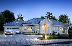 Willa Parkowa 6 on Behance Modern Bungalow House, Bungalow Exterior, Bungalow House Plans, Flat House Design, Village House Design, Modern House Design, House Plans Mansion, Dream House Plans, Modern House Plans